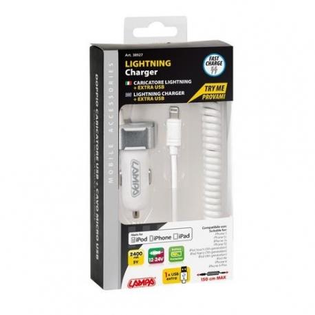 Carica Batteria Lightining, Extra Presa USB 2400MA 12/24V